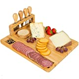 Giggi Bamboo Cheese Board Gift Set | Cheese Board with 4 Piece Cheese Knives | Charcuterie Board | Cheese Board and Knife Set Ideal for Christmas Gifts Birthday Gifts Parties Perfect Cheese Board Set