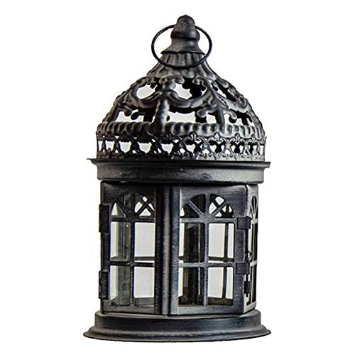 WLALLSS Linterna de Vela Decorativa Vela de Boda portátil Faro Candelabro de Hierro marroquí Candelabro de candelabro de Metal Decorativo Candelabro (Color: Negro, Tamaño: D: 12.5 Veces; 21 cm)