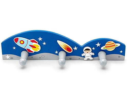 Mousehouse Gifts - Perchero de Pared Infantil con 3 Ganchos - Temática Espacial