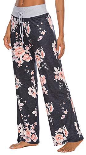 LOCUBE Women's Casual Floral Print Wide Leg Palazzo Lounge Pants Drawstring Long Pajama Pants Trousers (Black, Small)