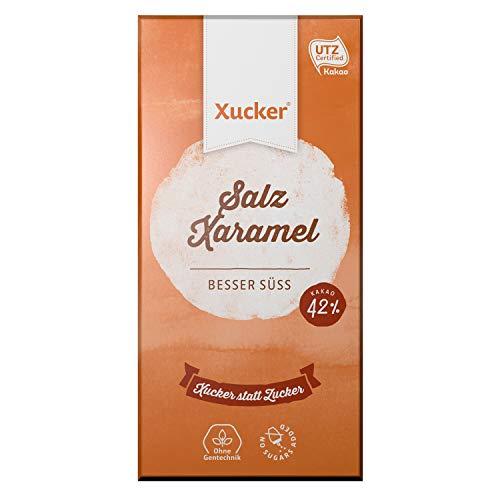 Xylit-Schokolade mit Salz und Xaramel (100 g Tafel) | Naschen ohne Reue mit Xucker | Ohne Gentechnik | mind. 42 % Kakao im Schokoladenanteil