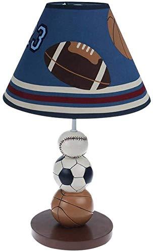 Kinder tafellamp, ballen Nachtkastje lampen met stoffen lampenkap voor leeskamer jongenskamer 41 * 25cm bureaulamp