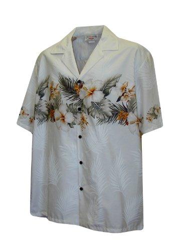 Hawaiian Shirt for Men - White w/ Floral Stripe, XX-Large