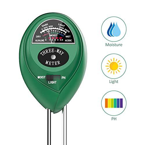 Soil PH Meter, Dr.meter 3-in-1 Soil Moisture/Light/pH Tester Gardening Tool Tester Kits for Garden Farm Lawn Planter, Indoor Outdoor Use