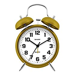 Sharp Twin Bell Alarm Clock - Loud Alarm - Great for Heavy Sleepers - Battery Operated Quartz Analog Clock , Mustard