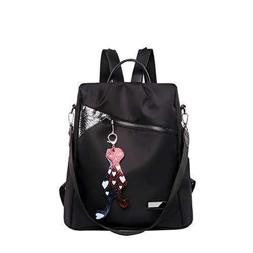 Rucksack Damen Backpack Große Kapazität Handtasche Einfache Schulrucksack Stilvolle Schulranzen Wasserdichte Schultertasche Studententasche Daypacks (Schwarz)
