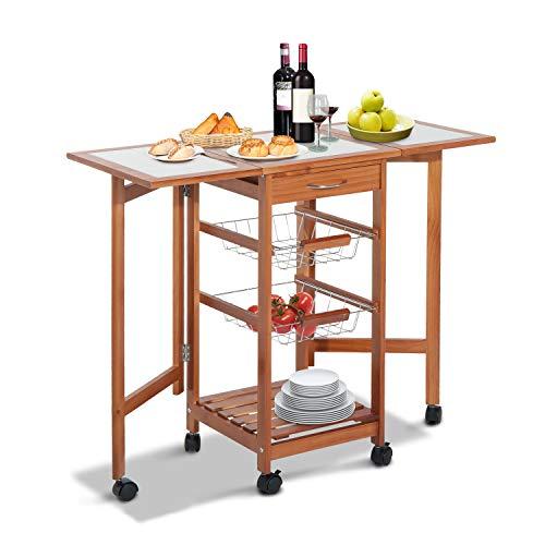 HOMCOM Servierwagen Rollwagen Küchenwagen Küchentrolley Küchenrollwagen mit Schubladen klappbar