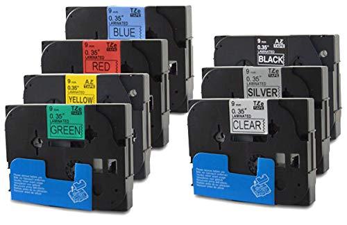 Bubprint 7 Schriftbänder kompatibel für Brother TZE 121 521 325 421 621 721 921 für P-Touch 1280 2430PC 2730VP 3600 9500PC 9700PC D400VP D600VP H100LB