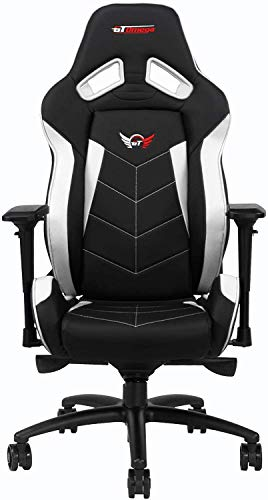 GT OMEGA ELITE Racing Gaming Chair with Lumbar Support - Ergonomic Office Chair with 4D Adjustable Armrest & Recliner - PVC Leather Esport Seat for Ultimate Gaming Experience - Black Next White