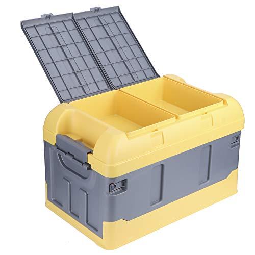 45L Zusammenklappbare Aufbewahrungsbox für Kofferraum 60 kg Laden Sie die hohe Abdeckung des Organizers Zwei Fächer für Home Auto(Gelb)