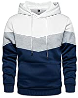 Men's Novelty Color Block Pullover Fleece Hoodie Long Sleeve Casual Sweatshirt with Pocket White Large
