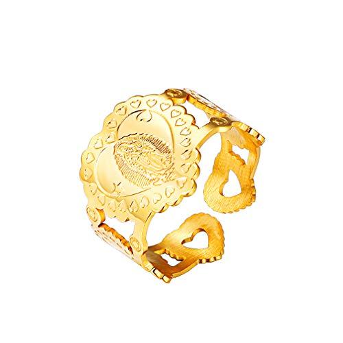 FaithHeart Decoración Sagrada de Dedos Anillo Ajustable de Acero Inoxidable Color Oro Amarillo Regalo Cristiano Hombre y Mujer Madre María