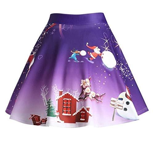 Geilisungren Weihnachtsrock Damen Schneemann Weihnachtsbaume Druck A-Linie Minirock Frauen Hohe Taille Glocken Röcke Weihnachten Karneval Festival Cosplay Tanzparty Rock