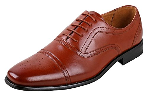 Delli Aldo Mens Wing Tip Dress Shoes | Comfortable Dress Shoes I Formal | Lace-Up | Classic Design | Brown 7.5