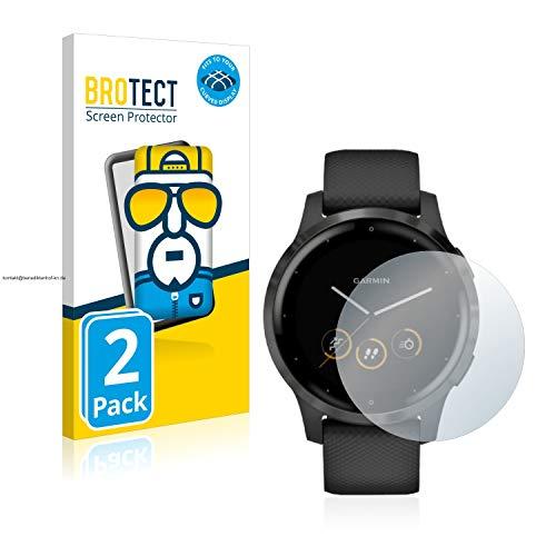 BROTECT Full-Cover Schutzfolie kompatibel mit Garmin vivoactive 4 (45 mm) (2 Stück) - Full-Screen Bildschirmschutz-Folie, 3D Curved, Kristall-Klar