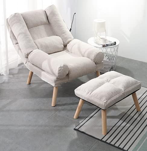 CHBB Sillón, cómodo y suave, silla de dormitorio, silla de salón, respaldo alto y patas de madera con funda de cojín extraíble,...