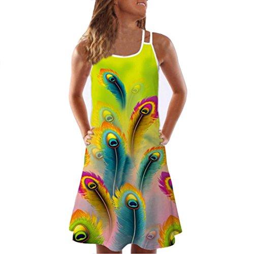 VEMOW Sommer Elegante Damen Frauen Lose Vintage Sleeveless 3D Blumendruck Bohe Casual Täglichen Party Strand Urlaub Tank Short Mini Kleid(Grün, 36 DE/S CN)