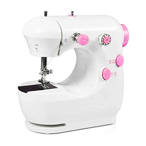 Mini Sewing Machine Portable Household Beginner Tailors Free-Arm Crafting Mending Machine with Lamp and Thread Cutter High Low Speeds Hand-operation and Foot Pedal -  Kehangda