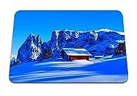 26cmx21cm マウスパッド (山雪小屋トップ冬) パターンカスタムの マウスパッド