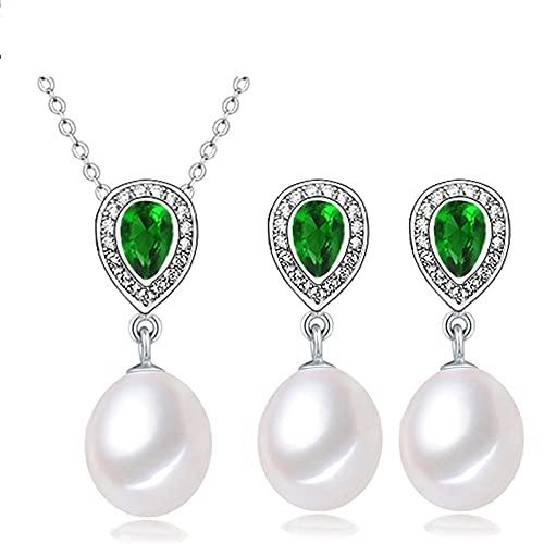SALAN Collar De Plata De Ley 925, Conjuntos De Joyas De Perlas Naturales para Mujer, Pendientes Bohemios, Colgante De Zafiro