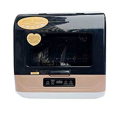 Cozyel Portable Countertop Dishwasher Compact Dishwasher with Inlet & Outlet Hose, 4 Washing Programs, Fruit Vegetables Dishes Cleaning, Air-Dry Function, LED Display for Small Apartments, Dorms, RVs