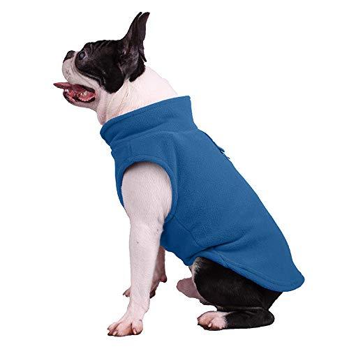 Hundepullover, Hunde-Sweatshirt, weiche Fleece-Weste, kaltes Wetter, Jacke mit Leinen-Ring für kleine Hunde, mittelgroße Hunde (mittelgroß, blau)