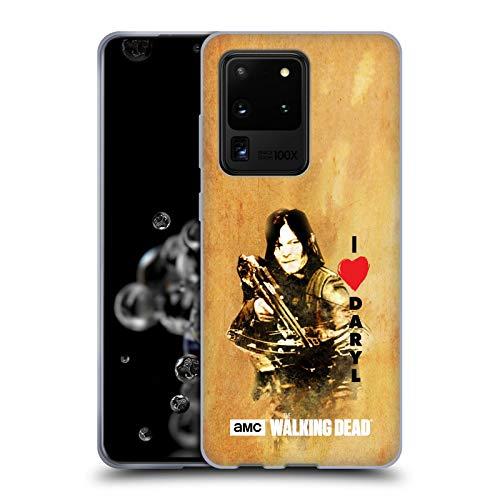 Head Case Designs Offizielle AMC The Walking Dead Daryl Armbrust Typografie Soft Gel Handyhülle Hülle Huelle kompatibel mit Samsung Galaxy S20 Ultra 5G