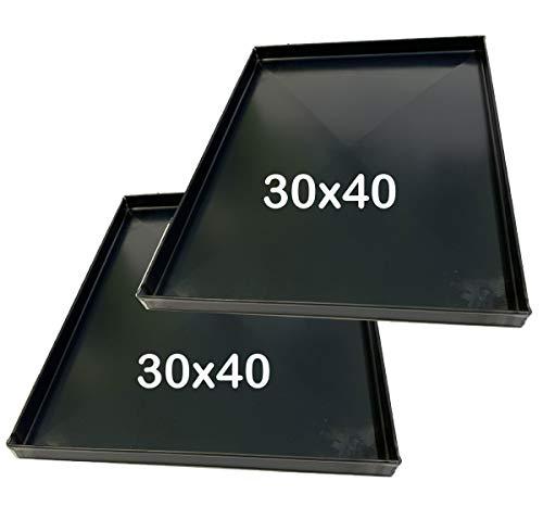 Teglia Forno 40x30x2 Cm, per Pizza Professionale Spessore teglie 8/10 Pizza Alta idratazione Ideale per Professionisti della Pizza focaccia 2 Pezzi