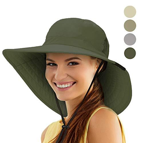 Tirrinia Sun Hat Wide Brim Fishing Boonie Cap Safari Hiking Hat for Women Green