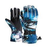 PJRYC Guantes de esquí térmicos Invierno Guantes de Nieve de Snowboard cálido 5 Dedo Pantalla táctil para Montar en esquí (Color : Starry Sky, tamaño : XL)