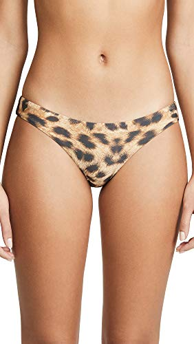 PilyQ Women's Reversible Basic Full Bikini Bottoms, Jungle, Tan, Print, Small