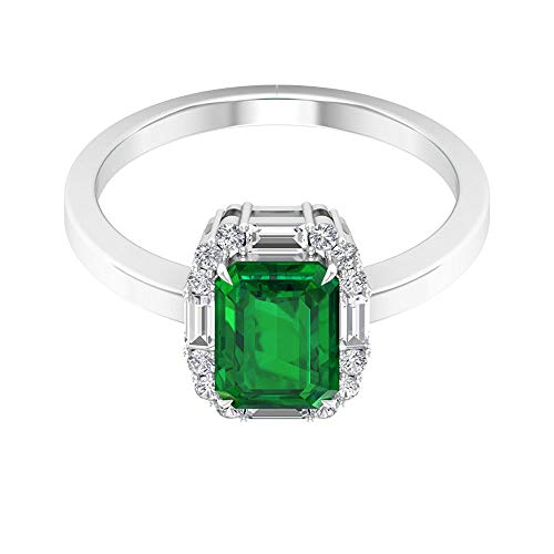 Anillo solitario de oro esmeralda certificado SGL de 1,7 quilates, anillo de halo de diamante con forma de baguette de 0,35 quilates, 14K Oro amarillo, Size:EU 61