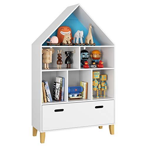 Homfa Kinderregal mit Schublade und 6 Fächern Spielzeugregal Aufbewahrungsregal Standregal Bücherregal für Kinderzimmer Holzrregal hausform weiß 80 x 30 x 132,5 cm