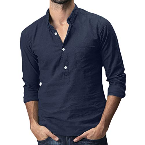 DNOQN Polo Shirt Männer Langes Sportshirt Herren Baggy Cotton Linen Solide Pocket Langarm Umlegekragen T-Shirts Tops XXL