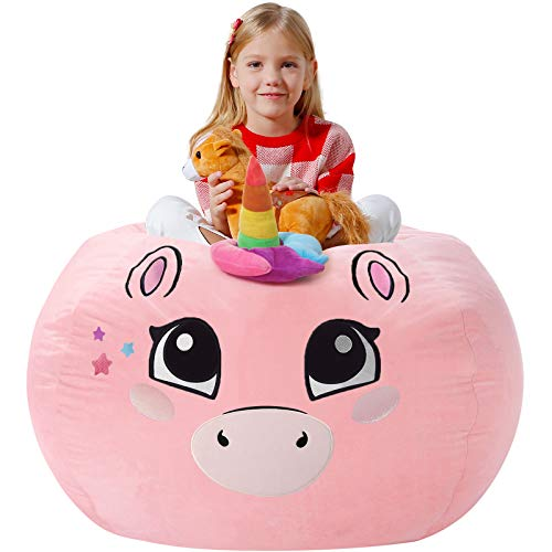 Aubliss Unicorn Stuffed Animal Storage Bean Bag Chair Cover, Toy Storage Bean Bag for Girls, Velvet Pink Large 38''