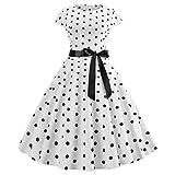 K-youth Años 50 Hepburn Vintage Swing Vestidos De Fiesta Mujer Elegantes Vestido para Mujer Sexy Casual Vestidos de Mujer Cóctel Playa Evening Prom Ceremonia de Boda(Blanco, M)