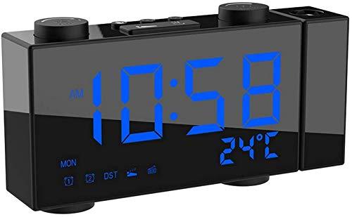 Digitalprojektions-Wecker, Funk-Funk-Wecker mit Doppelalarm-Schlummer, 4-Stufen-Dimmer, Innen- und Außentemperatur, Wettervorhersage, multifunktionaler Wecker