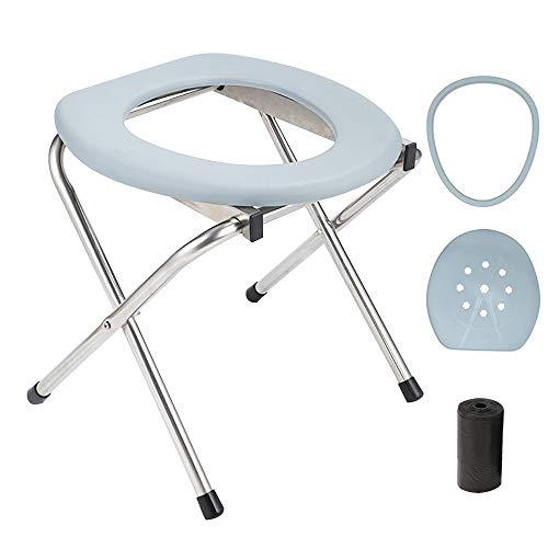OOCOME Asiento de inodoro portátil, silla plegable Porta Potty de emergencia con tapa, bolsa de plástico y anillo de plástico, asiento de inodoro ligero de campamento, perfecto para viajes y camping