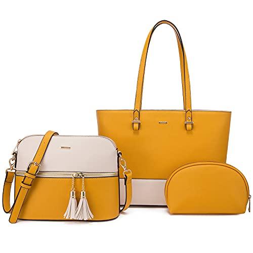 LOVEVOOK Handtaschen Damen Shopper Damen groß Damen Taschen Henkeltaschen Damen veganes Leder Handtasche 3-teiliges Set, Gelb Beige