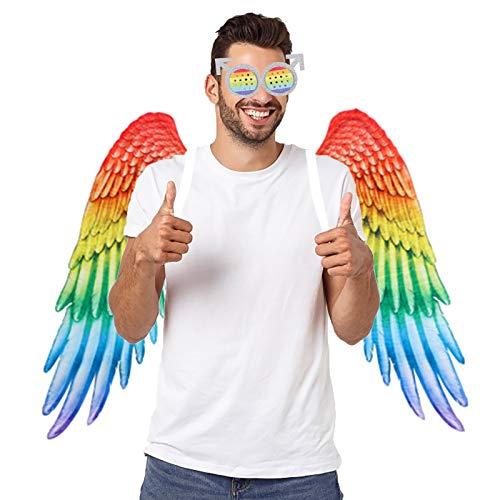 WWmily 2 piezas de alas de orgullo gay con alas de arco iris con gafas de arco iris LGBT Relación arco iris amor colgante decorativo regalo disfraz de Halloween fiesta para adultos hombre mujer