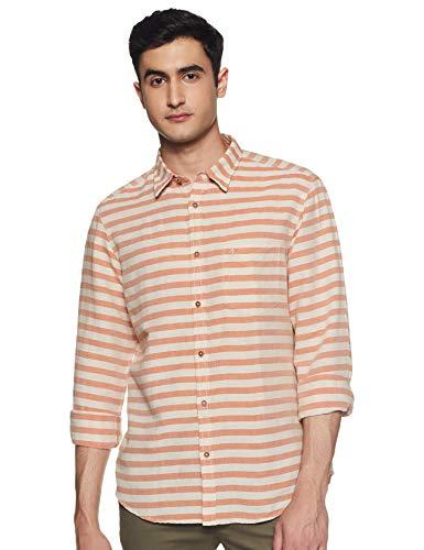 Indian Terrain Men's Striped Slim fit Casual Shirt (ITMSH01159-8907755619582_Orange Medium)