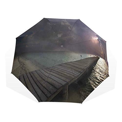 LASINSU Regenschirm,Horizont mit Gewitter in der Himmel Ansicht vom exotischen Strand hölzernen Deck,Faltbar Kompakt Sonnenschirm UV Schutz Winddicht Regenschirm
