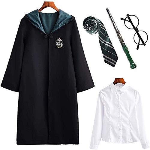 Kinder Erwachsene Harry Potter Kostüm Umhang Gryffindor Hufflepuff Ravenclaw Slytherin Fanartikel Unisex Outfit Set Halloween Fasching Cosplay,Weiblich-grün,155