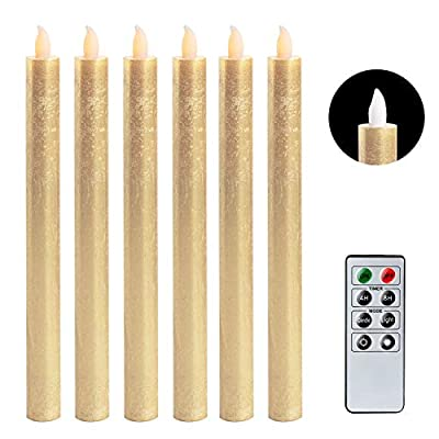 Eldnacele Flameless Taper Candles with Remote Control Timer Set of 6, Battery Operated Real Wax LED Window Candles