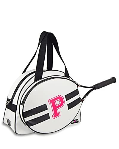 IDAWEN - Raquetero Personalizable Blanco y Negro - Máxima Organización con Diferentes Bolsillos - Tamaño Grande - Medidas: 42 x 19 x 31 cm - Mochila de Raquetas de Tenis - Producto Sostenible