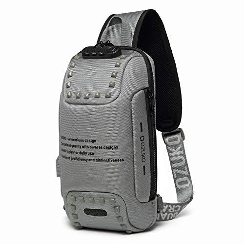 ボディバッグ USB充電ポート搭載 斜めがけ ワンショルダーバッグ メンズ 旅行カバン 盗難防止 防水 9.7インチiPad収納可 (9.グレー 2#)