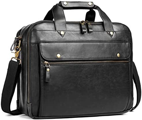 Leather Briefcase for Men Computer Bag Laptop Bag Waterproof Retro Business Travel Messenger product image