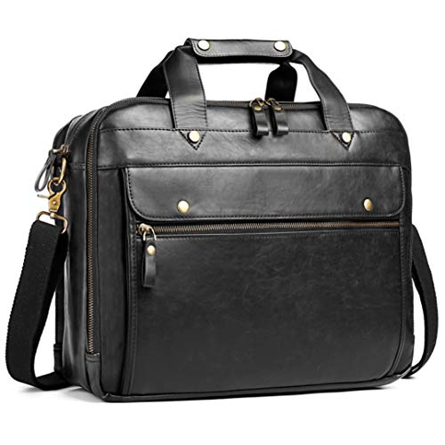 Leather Briefcase for Men ComputerBag Laptop Bag Waterproof Retro Business Travel Messenger Bag Large Tote 15.6 Inch,Perfect for Daily Use/ Christmas (Black)