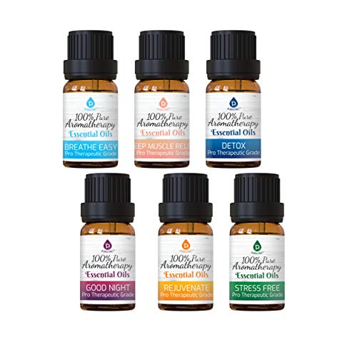 Pursonic 100% Pure Essential Aromatherapy Oils Blends Gift Set-6 Pack , 10ML(Breath Easy,Deep Muscle Relief,Detox,Good Night,Rejuvenate,Distress)