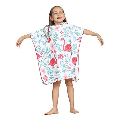 ele ELEOPTION Badeponcho Strandtuch mit Kapuze für Kinder,Mikrofaser Bademantel Badetuch Schnelltrocknen Wechselkleider Poncho Handtuch (Flamingo, 65CM für Kinder Körpergröße 90-120 cm)